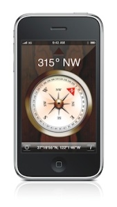 iPhone with compass