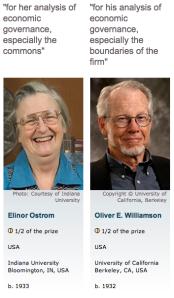 Ostrom and Williamson Nobel Economics Laureates 2009
