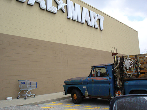 Farm truck in front of a Wal-Mart