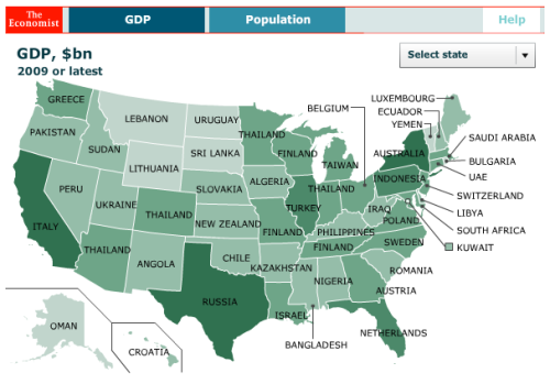 Map Renames US States With Country Generating Same GDP Business - Us map gdp countries