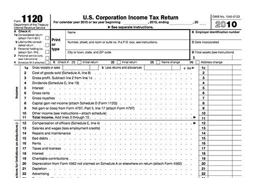 IRS form 1120 corporate income tax return