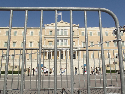 barricaded Greek Parliament