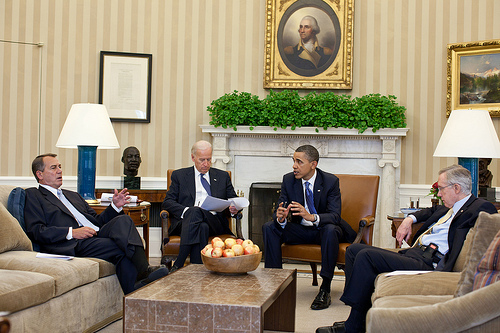 President Barack Obama and Vice President Joe Biden meet with House Speaker John Boehner and Senate Majority Leader Harry Reid in the Oval Office to discuss ongoing budget negotiations on a funding bill, April 7, 2011. (Official White House Photo by Pete Souza)
