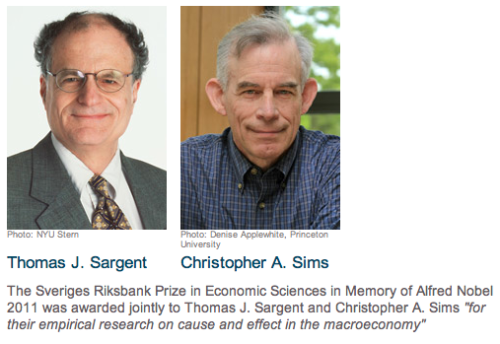 Sargent and Sims, the 2011 Nobel Prize in Economics laureates