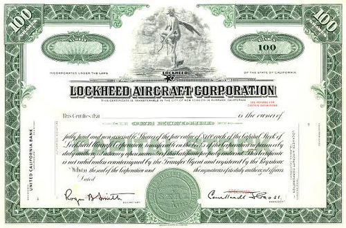 Lockheed aircraft corporation stock certificate from 1968